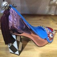 JUNBIE/женские туфли лодочки из натуральной кожи с серебряными кристаллами и бусинами, женские туфли на высоком каблуке с бахромой