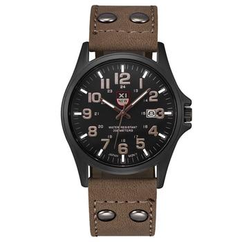 Men Watches Fashion Leather Strap Date Wristwatch Male Military Army Sports Clock Casual Erkek Saat Relogio Masculino Black 2018