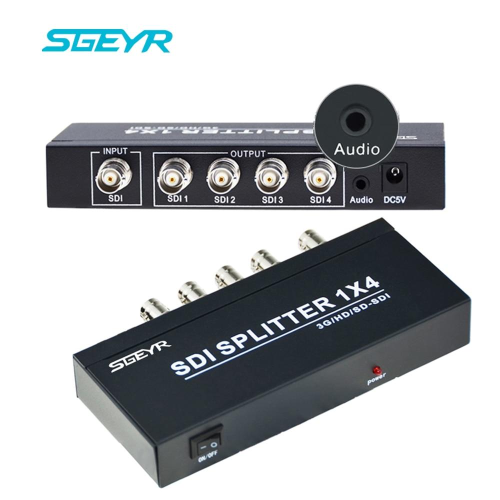 SGEYR 3g SDI 1x2 Splitter avec 3.5mm Audio Sortie SDI Distribution 1 entrée 2 entrée/ 4 sortie 1x4 SDI Convertisseur pour Caméscope
