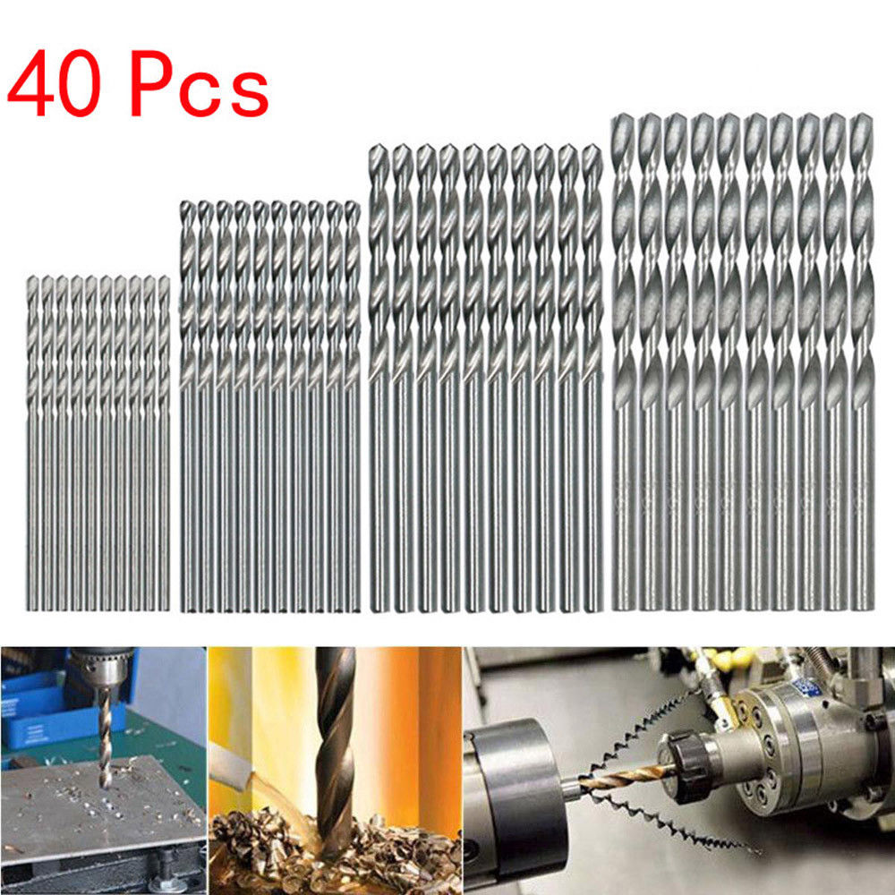 40Pcs /LOT White Diamond Coated Twist Drill Bit High Steel For Woodworking Plastic And Aluminum HSS Drill Bit Set 0.5/1/1.5/2mm