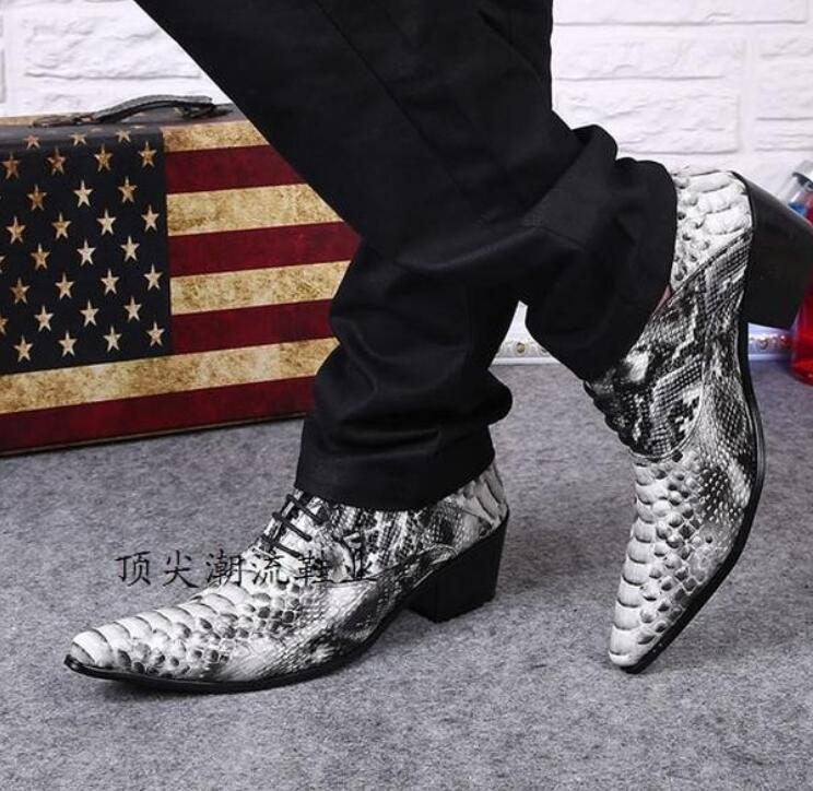 Fake Snake Skin Print Alligator Leather Shoes Men Loafers Slip On Pointed Toe Men Shoes Casual Slip On 17d50 Men's Shoes