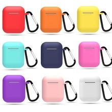 Silicone Earphone Case Protective Cover Skin for Apple Airpods Charging Box with Hooks Airpods Accessories