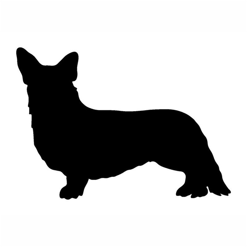 19.5*12.7CM Cardogam Welsh Corgi Car Stickers Lovely Pet Dog Vinyl Decal Car Styling Bumper Decoration Black/Silver S1-0717