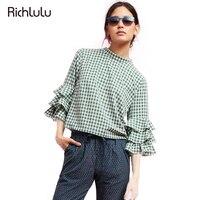 RIchLuLu Women Plaid Blouse 2017 Butterfly Sleeve Ruffles Shirt Turtle Neck Female Sweet Three Quarter Tops
