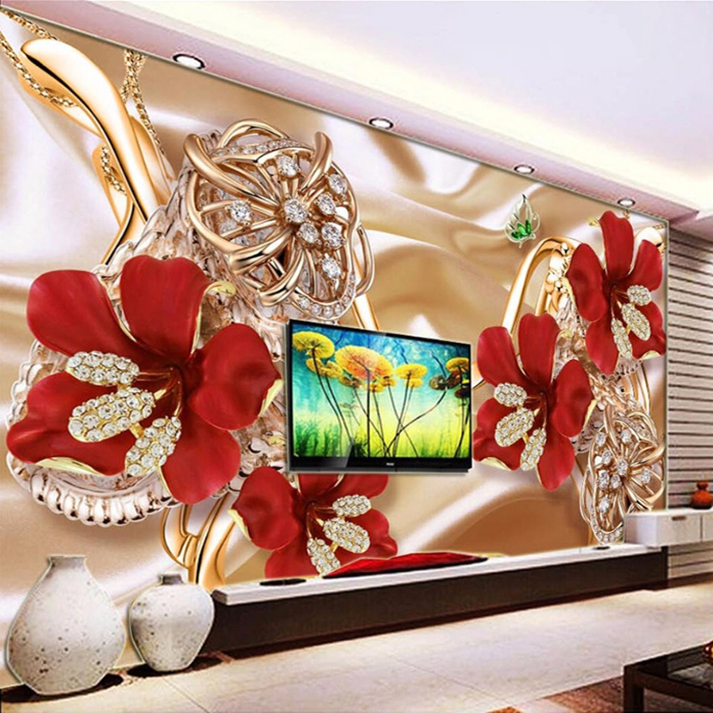 Custom Photo Wall Paper Mural 3D Jewelry Flowers Living Room Sofa TV Background Wall Murals Wallpaper Home Decor Papel De Parede