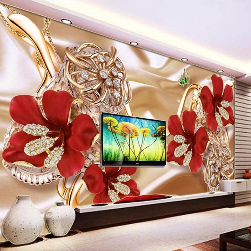 Custom Photo Wall Paper Mural 3D Jewelry Flowers Living Room Sofa TV Background Wall Murals Wallpaper Home Decor Papel De Parede