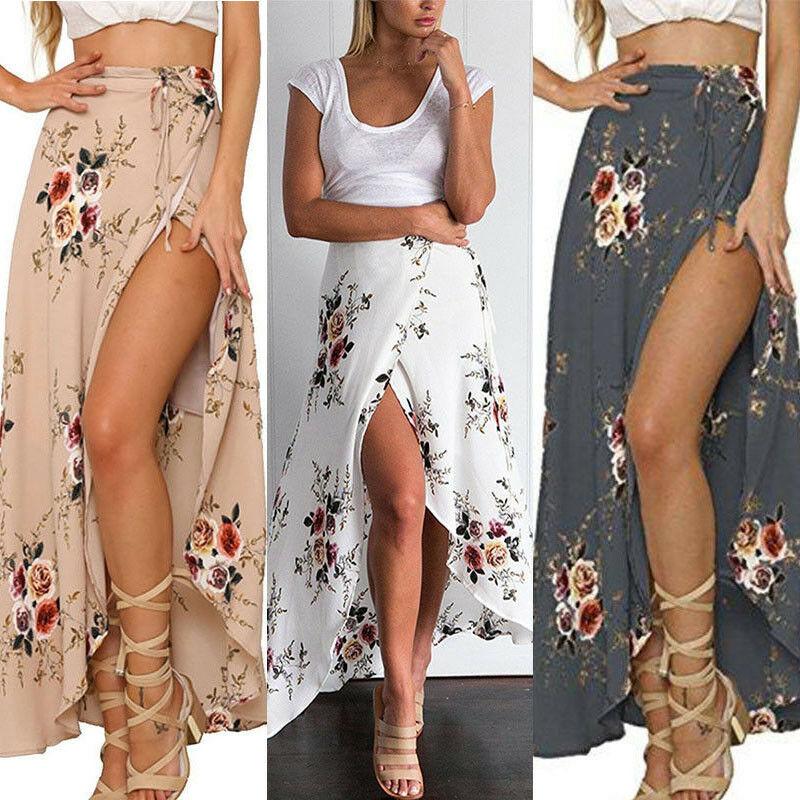 Hot Sale Women Ladies Fashion Casual Summer Skirt High Waist A Line Floral Print Skirts Sun Beachwear