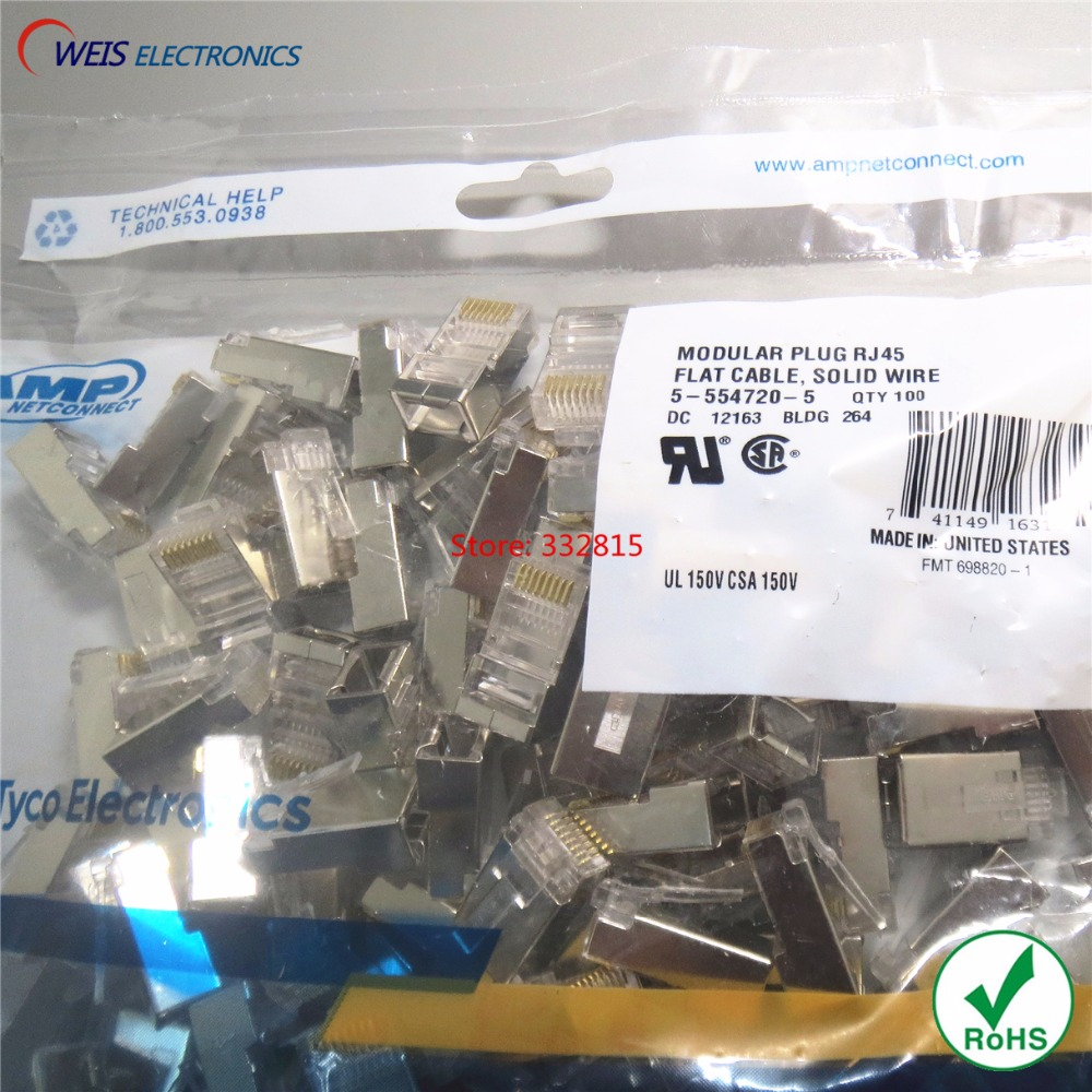 20PCS RJ45 8P8C Connector Metal Shielded Ethernet Network Modular Plug FLAT CABLE SOLID WIRE ( 5-554720-5 )FREE SHIPPING
