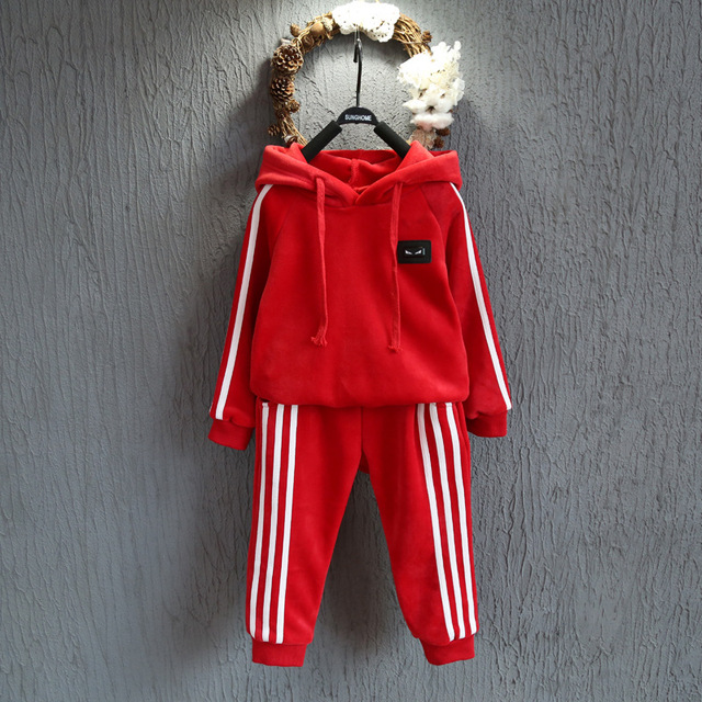 Children 's Suit 2016 autumn and winter new boys and girls soft velvet hooded thickening sports pants two - piece