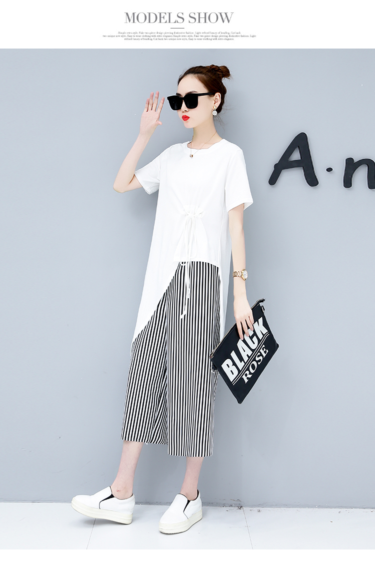 Summer Casual Two Piece Sets Women Black White Short Sleeve Tshirt And Striped Wide Leg Pants Sets Suits Plus Size Women's Sets 40