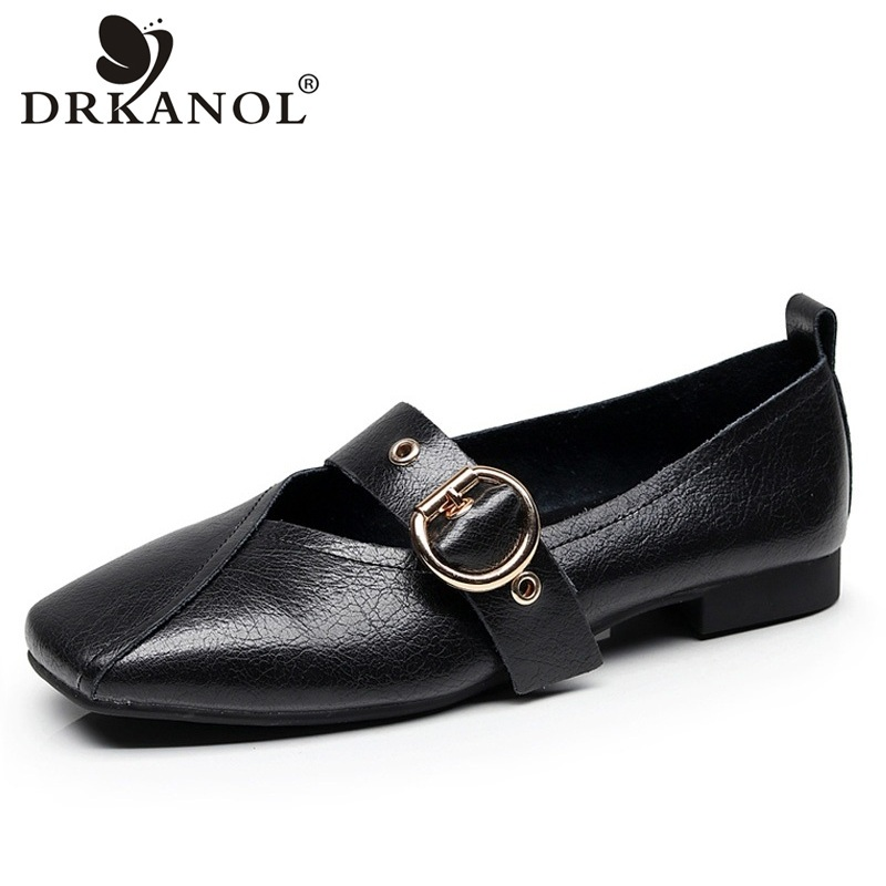 DRKANOL Spring Summer Big Size 35-43 Women Loafers Slip On Flat Shoes Comfortable Soft Genuine Leather Flats Women Casual Shoes new round toe slip on women loafers fashion bow patent leather women flat shoes ladies casual flats big size 34 43 women oxfords