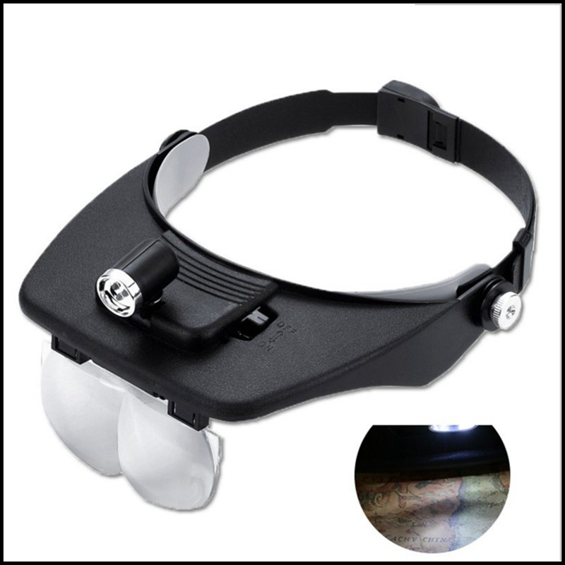 1.2X 1.8X 2.5X 3.5X Head band Magnifying Glass Lens Loupe with LED Light Jewel Repair Magnifier