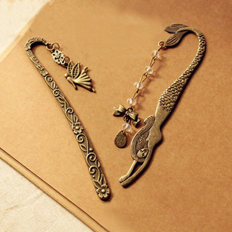 2Pcs/Pack Novelty Retro Alloy Metal Bookmark Mermaid Beaded Or Angels Butterfly Fashion Vintage Bookmark Stationery