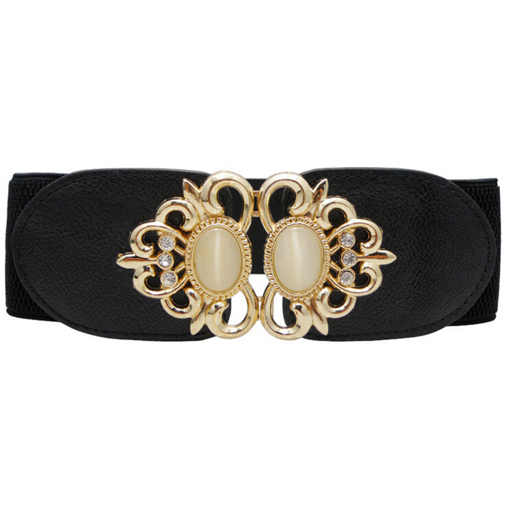 Fashion Women's Elastic Waist Belt Vintage Stone Buckle Cummerbunds Female Stretch Waistband Cinch Strap