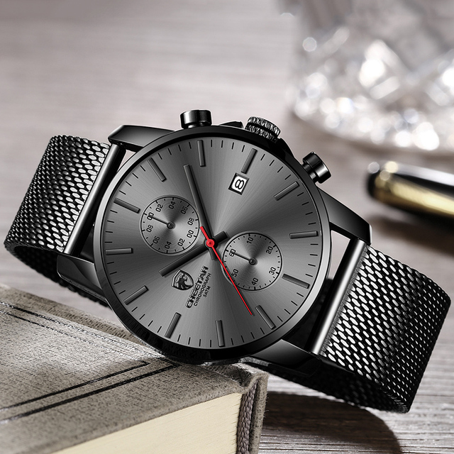 Black Business Stainless Steel Mesh Chronograph Date Men Watch