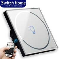 1 gang touch schalter, Drahtlose Fernbedienung touch Schalter, eu uk Glas panel touch Schalter, 1 weg Smart Sensor Wand licht schalter
