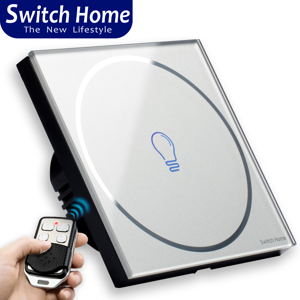 1 gang touch switch Wireless Remote Control touch Switch eu uk Glass panel touch Switch 1