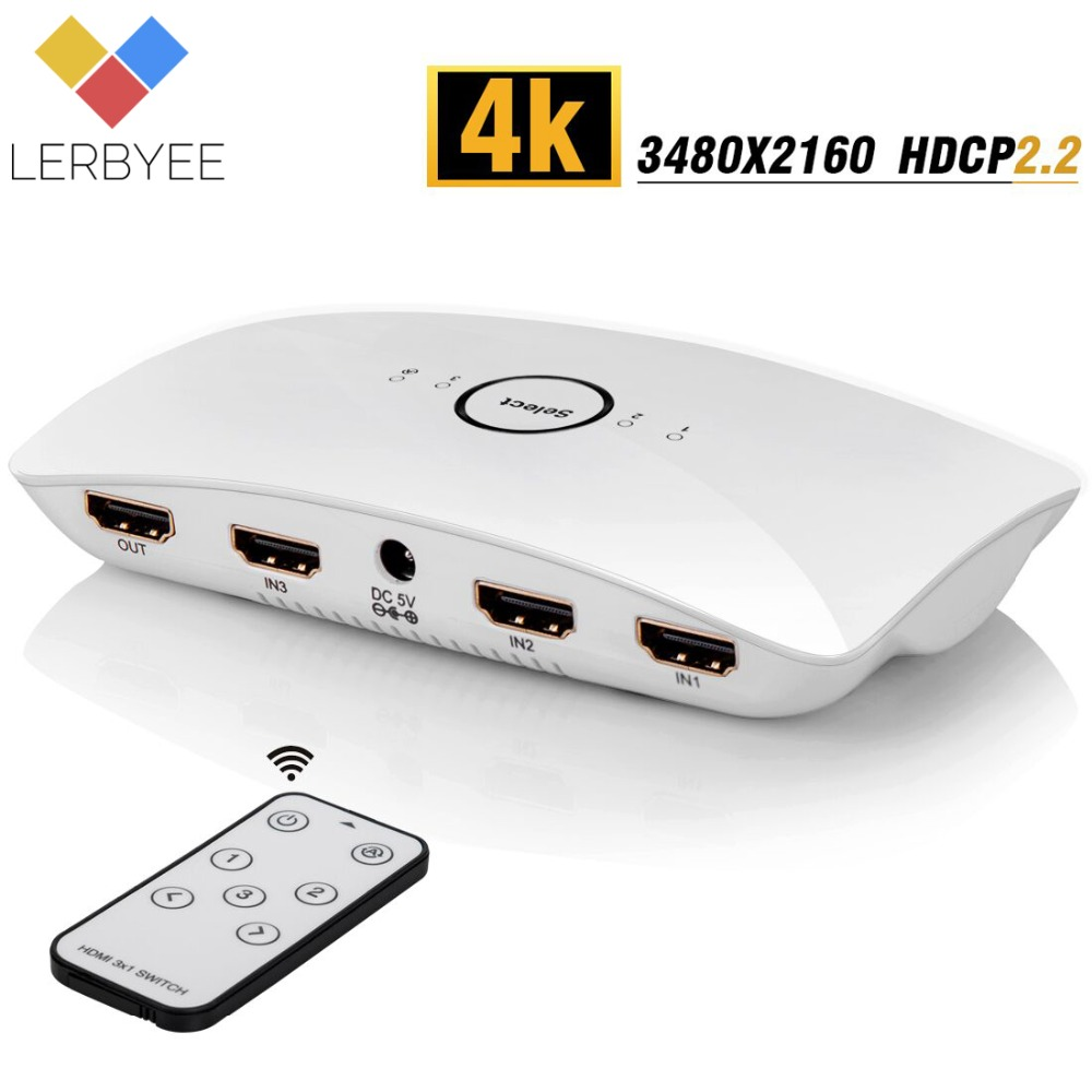 Lerbyee HDMI 2.0 Switch 4K@60Hz Audio Extractor Remote Control 3 In 1 Out HDCP2.2 SPDIF & RCA L/R Audio Out HDMI for TV PS4 XBox lerbyee hdmi 2 0 switch 4k 60hz audio extractor remote control 3 in 1 out hdcp2 2 spdif