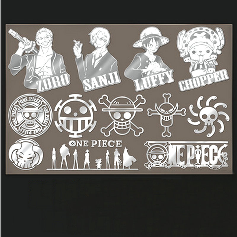 PowerAngel 12 pcs/ensemble Anime One Piece Métal Decal Stickers pour Téléphone Portable Ordinateur Portable PSP DIY Autocollant Accessoires