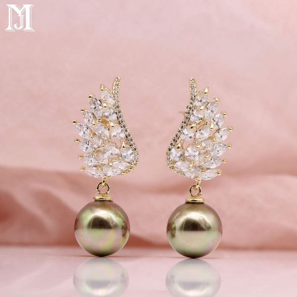 JiaMu sea shell paerl Angel wings natural zircon gold white pendants earrings for wowen's wedding party ladies gift jewelry