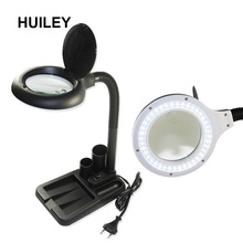 цена на LED Lighted Magnifier Table Light Reading Desk Lamp Flexible Illuminated Welding Magnifying Glass Phone PCB Repairing Tools