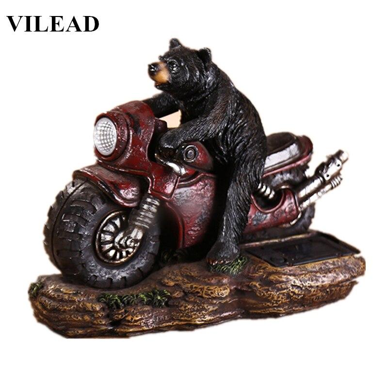 VILEAD 9 Resin Bear On Motor Figurine Cute Bear Statue Modern Animal Sculpture With Light Vintage