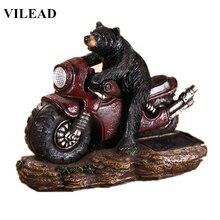 VILEAD 9 Resin Bear On Motor Figurine Cute Statue Modern Animal Sculpture With Light Vintage Home Decor Creative Gift