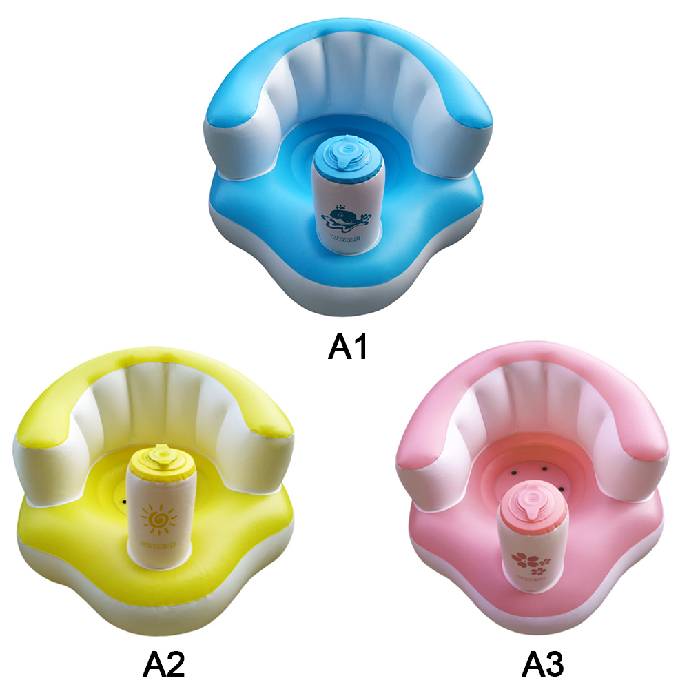 Baby Kids Multi-functional Inflatable Sofa Seat Children Inflatable Bathroom Chair Seat Portable Baby Learning Seat Dining Chair