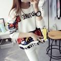 Опрятный Стиль Свободный Корейский Трикотажные Женщин Короткий Дизайн Свитер Случайные Пуловеры Верхняя Одежда О-Образным Вырезом Свитер Верхняя Одежда Женский Осень Зима