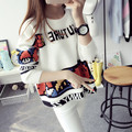 Preppy Style Loose Korean Knitted  Women Short Design Sweater Casual Pullover Outerwear O-neck Sweater Tops Female Autumn Winter