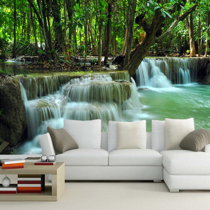 Modern home decoration wallpaper,waterfall,natural scenery photo wallpaper for living room sofa bedroom background PVC wallpaper natural farming home