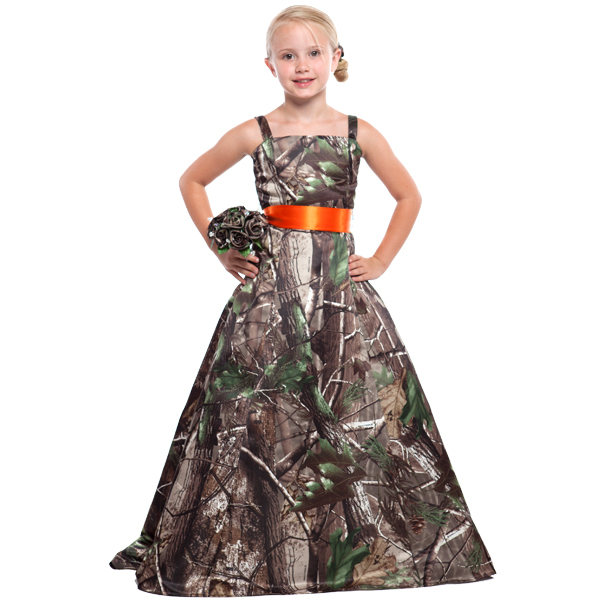 long   flower     girl     dresses   camouflage printing realtree camo   girls   pageant gown free shipping