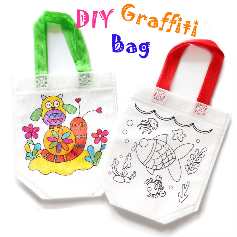 2pcs/lot Puzzle Educational Drawing Toy Children DIY Environmental Protection Graffiti Bag Kindergarten Hand Painting Materials