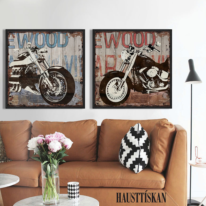 Vintage Harley motorcycle canvas wall art modern home decoration painting the living room office picture Cafe Bar free shipping