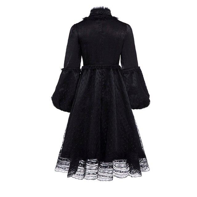 Sisjuly Vintage Gothic Black Dress Women Plus Size Autumn Winter Lantern Sleeve Stand Collar Ruffles Polka Dot Mesh Lace Dresses 1