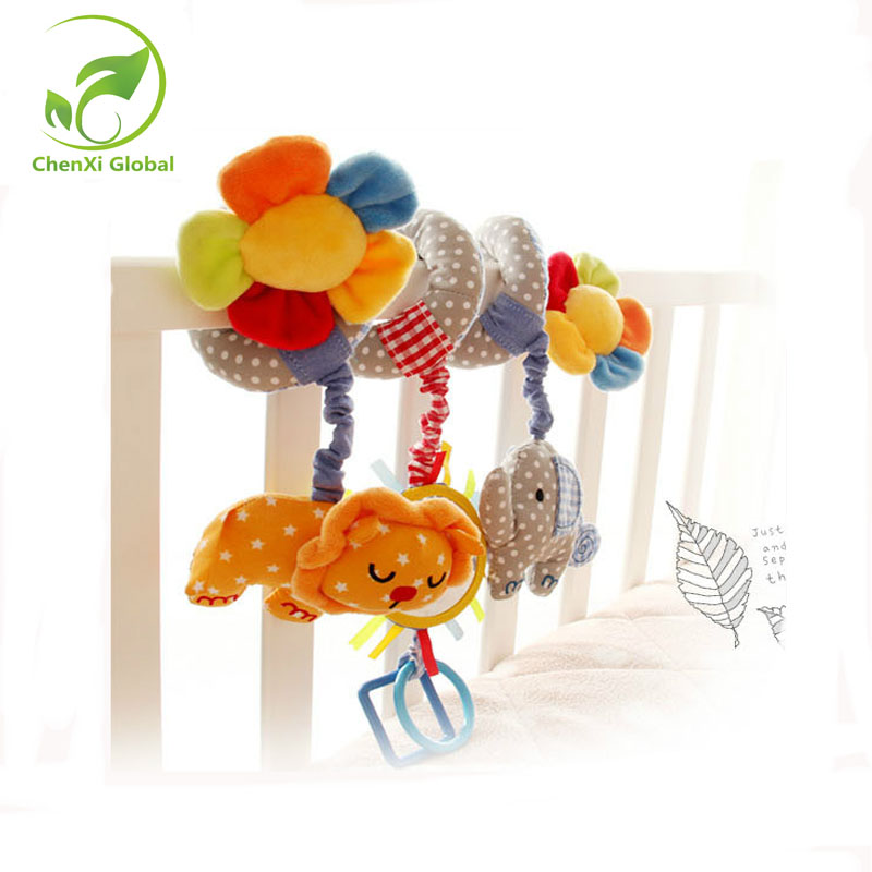 Sunflower Baby Toys Bed Bolls Rattles Baby Cribs Bed Boll Music Bed Bell With Lion Elephant and Mirror Free Shipping