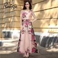 2017 Ruiyige Boho Long Maxi Floral Chiffon Sexy Sleeveless Strapless Pleated Party vestidos Summer Pink Beach High waist Dress