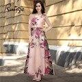2017 ruiyige boho maxi largo floral atractivo de la gasa sin mangas sin tirantes del partido plisado vestidos de verano de color rosa playa de cintura alta dress