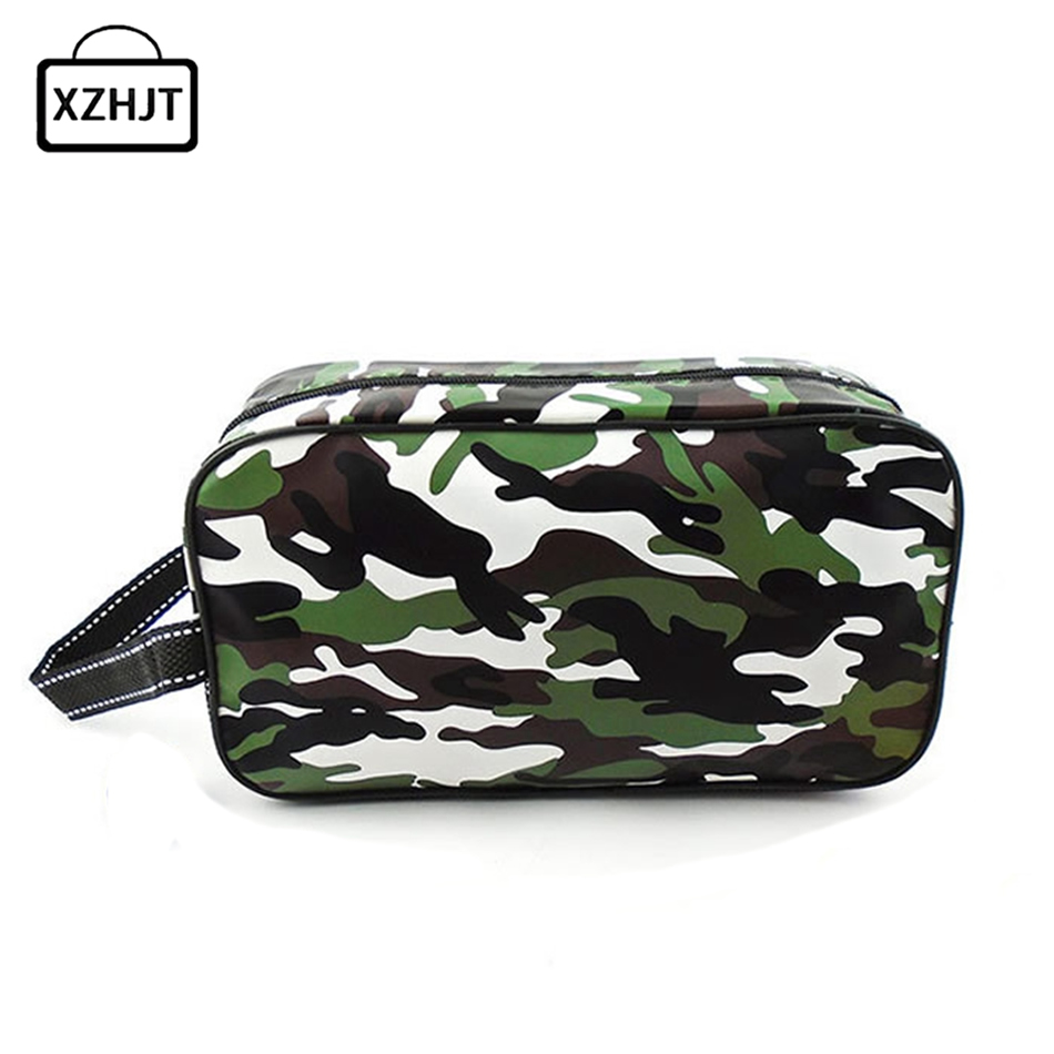 Casual Men Travel Camouflage Cosmetic Bag PU Leather Zipper Make Up Case Organizer Storage Pouch Toiletry Makeup Wash Bags 3 set casual women travel cosmetic bag pvc leather zipper make up transparent makeup case organizer storage pouch toiletry bags