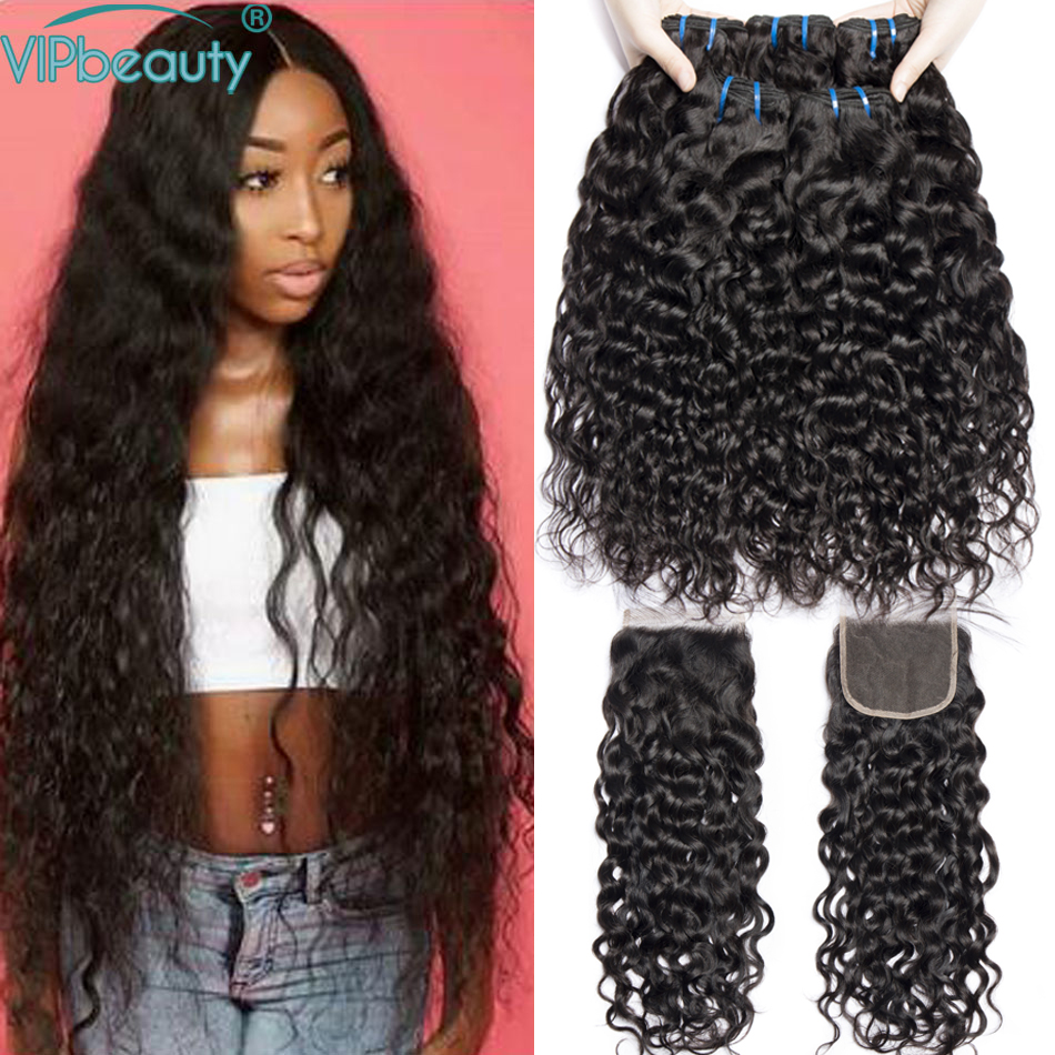 Vip Beauty Water Wave Bundles with Closure Pre plucked Natural Hairline Non remy Brazilian Hair Weave