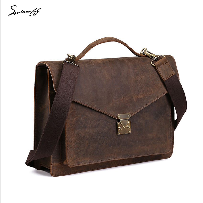 Us 91 04 49 Off Fashion Men S Leather Briefcases Business Genuine Laptop Bags Male Custom Name Hasp Cover Shoulder Handbag On