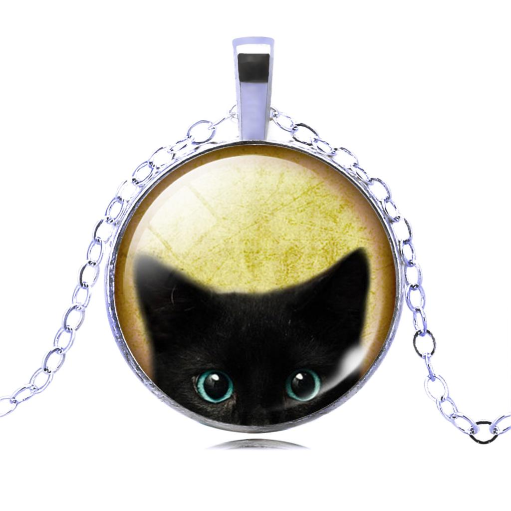 UNIQUE NECKLACE GLASS CABOCHON-SILVER BRONZE CHAIN NECKLACE BLACK CAT PICTURE VINTAGE PENDANT NECKLACE-Cat Jewelry-Free Shipping UNIQUE NECKLACE GLASS CABOCHON-SILVER BRONZE CHAIN NECKLACE BLACK CAT PICTURE VINTAGE PENDANT NECKLACE-Cat Jewelry-Free Shipping HTB170x