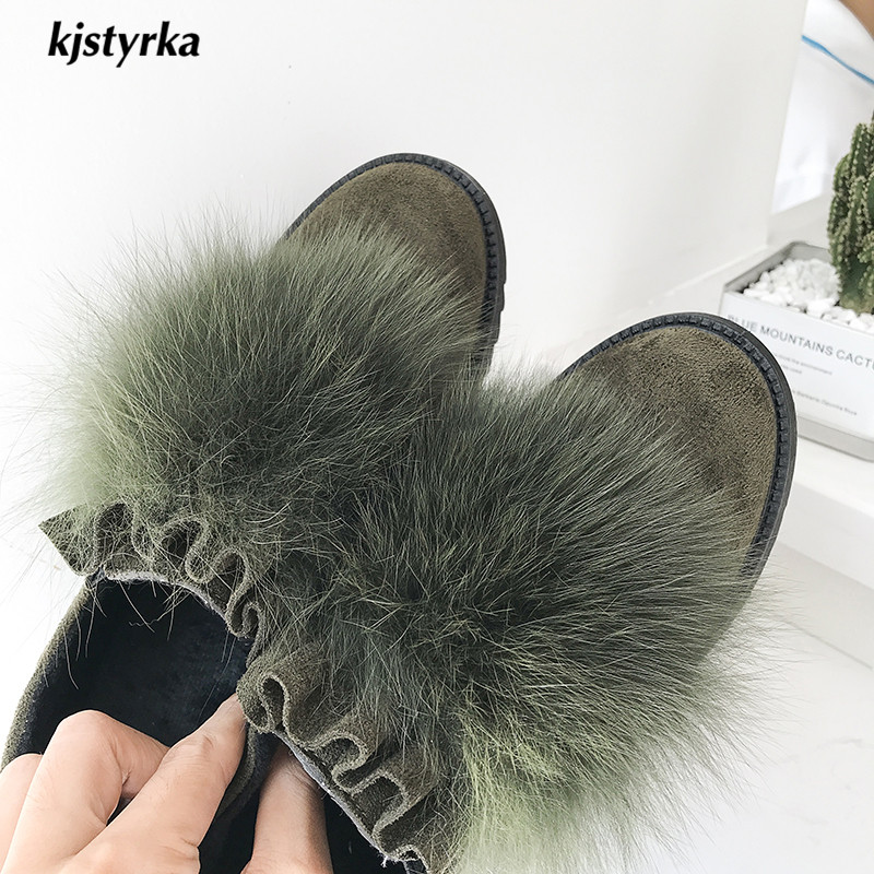 Fold Sapato Mujer Amortissement De Femme Mules Mode Zapatillas Bout Rond Non marron Casual 2018 Glissent Furry Noir Kjstyrka Dames vert Feminino Appartements W5wCxtYqtU