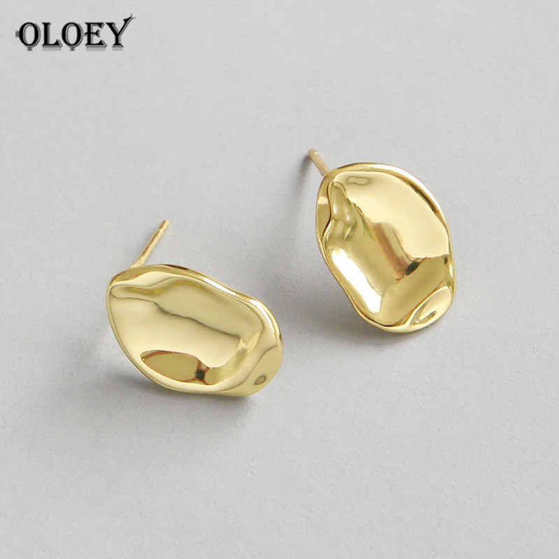 OLOEY 100% Pure 925 Sterling Silver Irregular Twist Stud Earrings for Women Korean Gold Plated Brinco Fine Jewelry Gifts YME249