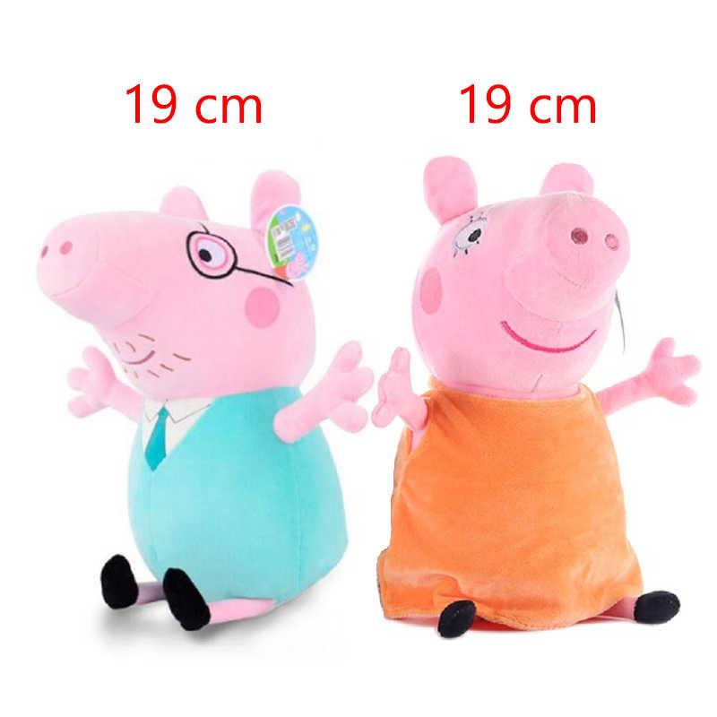 4 Conjunto pedaço Menina Porco Cor de Rosa George Pai Mãe 19 centímetros Cheia de Brinquedo de Pelúcia Boneca Dos Desenhos Animados Decoração Do Partido Crianças Animais dom de pelúcia
