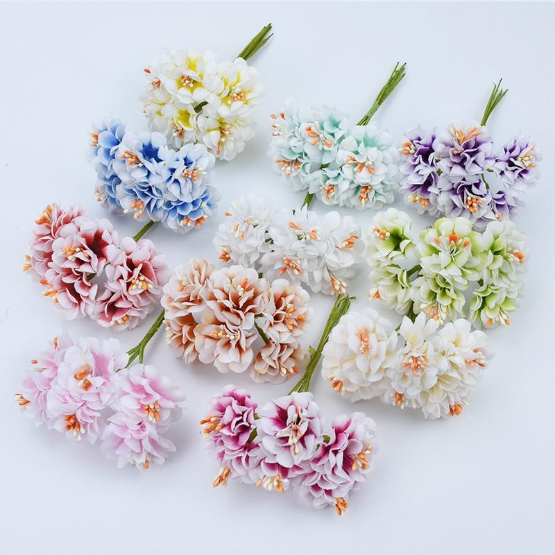 6 Pieces Silk Carnation stamen scrapbooking christmas decorations for home wedding vases navidad diy gifts  artificial flowers
