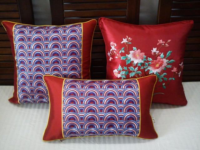 groothandel 3 stks prachtige geborduurde kationische zijde rode kussenhoes zonder interieur voor woondecoratie r4