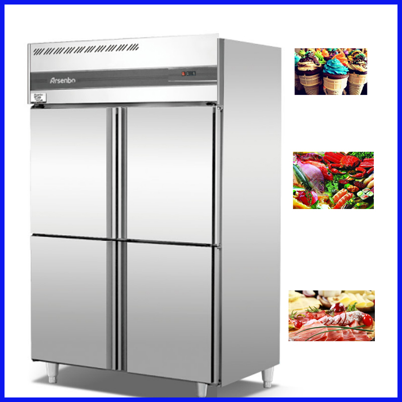 Four Doors Single Temperature Commercial Customized Air Cooling Food  Refrigerator Freezer Kitchen Worktable Refrigerator