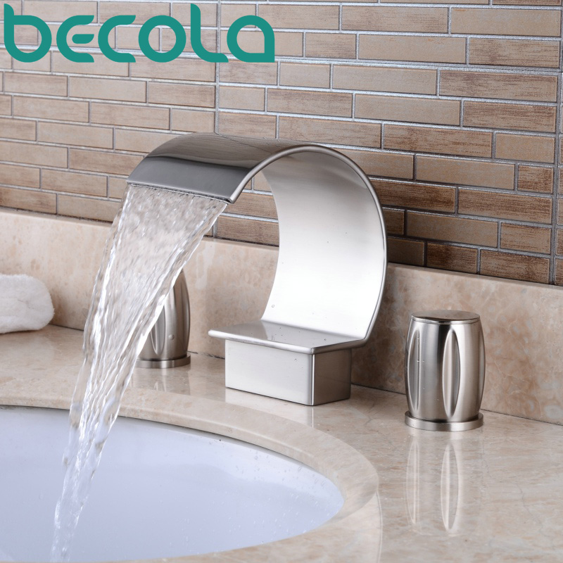 цена на Brushed Nickel Hot and Cold Water Bathroom mixer taps Dual Handle Waterfall Bathtub Faucet Deck Mount Bathroom Basin Sink Faucet