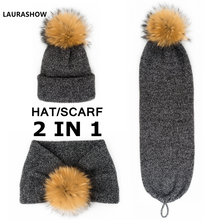 LAURASHOW 2 IN 1 Adult Winter Cap Scarf 16 cm Real Raccoon Fur Ball Pom Poms Hat Knitted Cap Hat Skullies Women Beanies